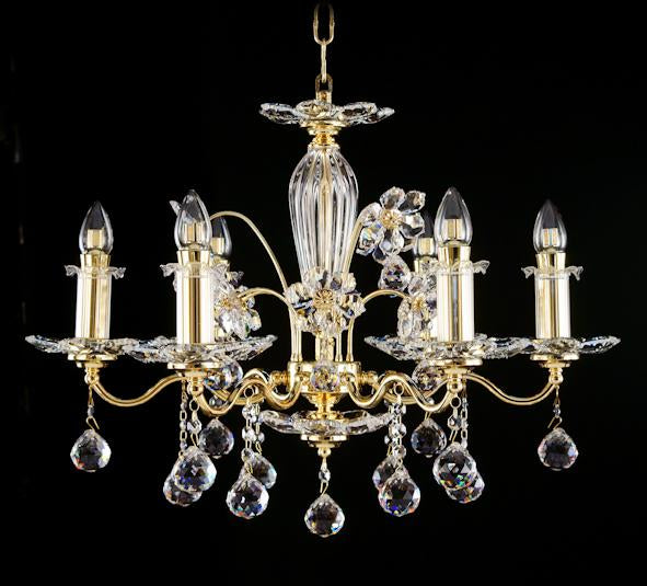 "2044 Crystal Pendant Light 25"" 6 Light - Asfour Crystal Chandelier [2044-25""-6L-701]"