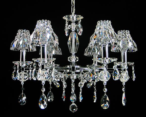 "2062 Crystal Pendant Light 24"" 6 Light - Asfour Crystal Chandelier [2062-24""-6L-873+1143]"