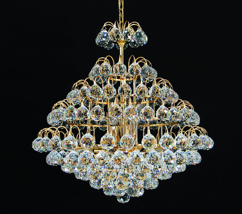 "2851 Crystal Pendant Light - 21"" 9 Light - Asfour Crystal 40mm ball - Chandelier [2851-21""-40mm]"