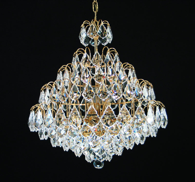 "2851 Crystal Pendant Light - 21"" 9 Light - Asfour Crystal Pendeloque - Chandelier [2851-21""-911]"