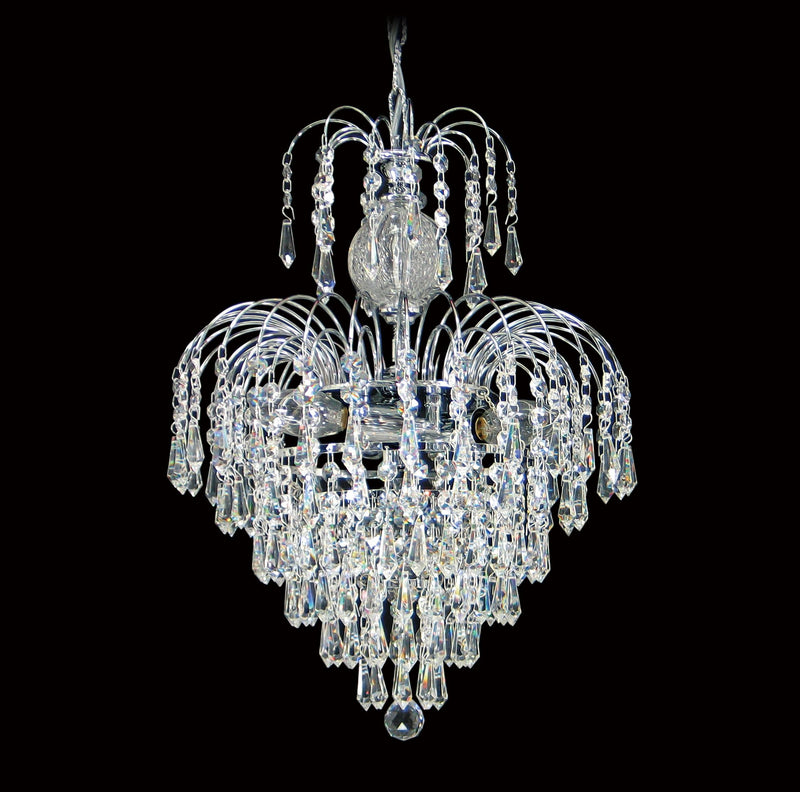 "4718 Crystal Pendant Light 13"" 4 Light - Asfour Crystal Prismas & 14mm Beads - Chandelier [4718-13""-14-401]"