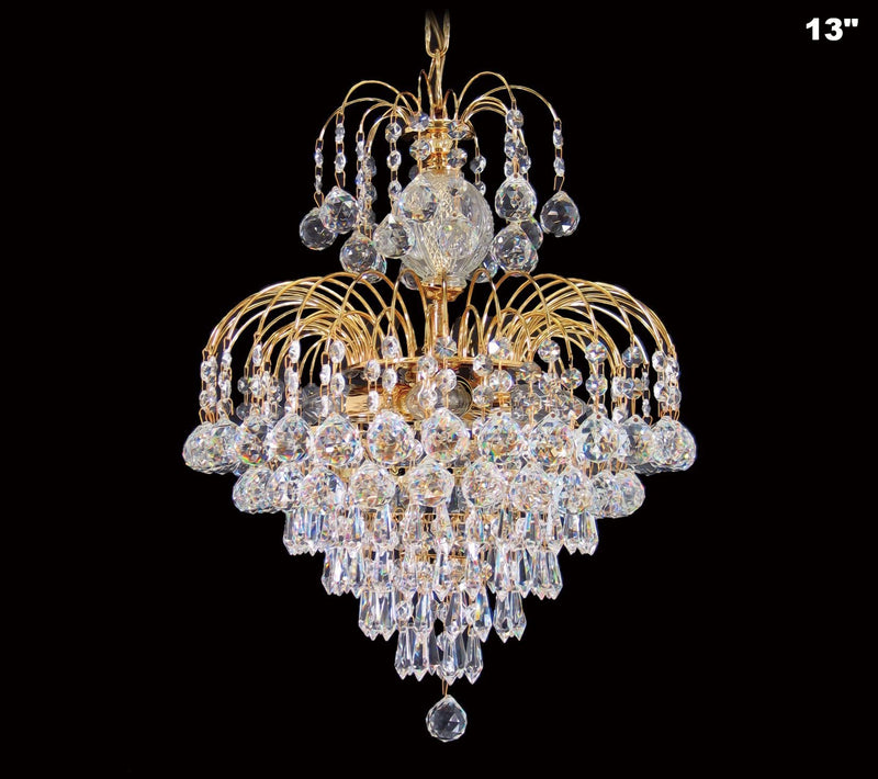 4718 Crystal Pendant Light (All Sizes) with Asfour Crystal Balls, Prismas & 14mm Beads - Chandelier