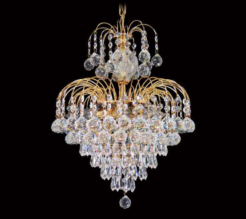 "4718 Crystal Pendant Light 13"" 4 Light - Asfour Crystal Balls, Prismas & 14mm Beads - Chandelier [4718-13""-14-401-701]"