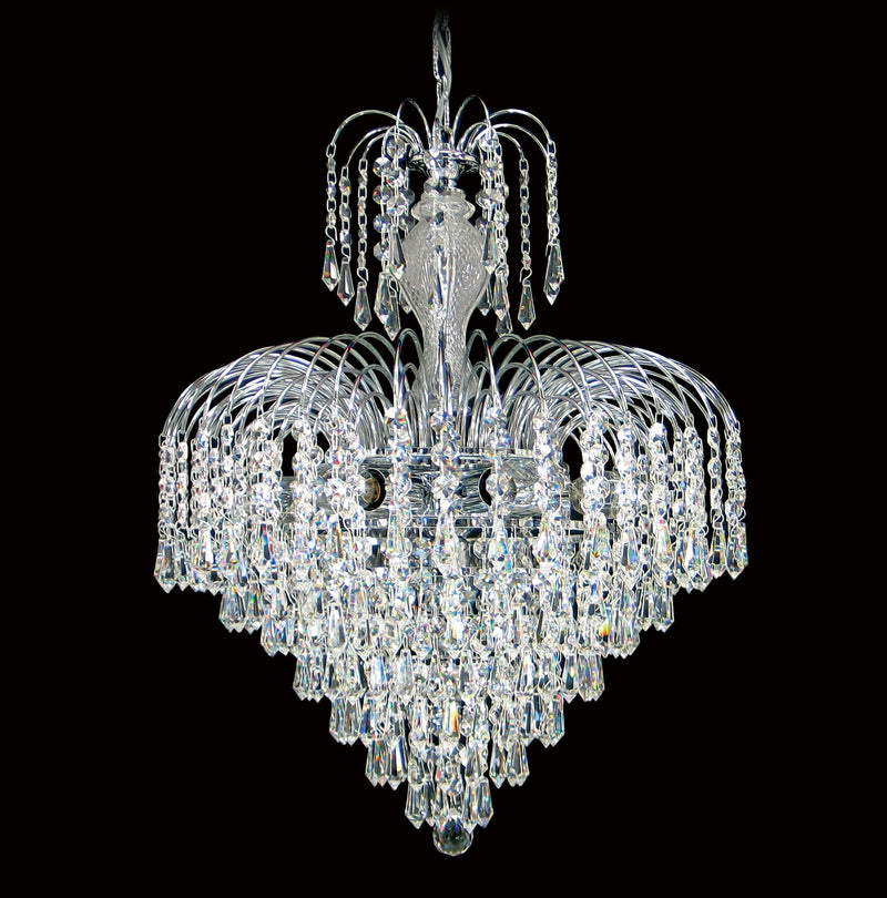 "4718 Crystal Pendant Light - 17"" 7 Lights - Asfour Crystal Prismas & 14mm Beads - Chandelier [4718-17""-14-401]"