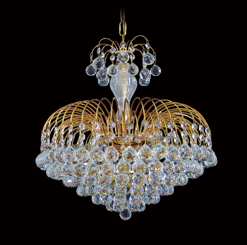 "4718 Crystal Pendant Light 17"" 7 Light - Asfour Crystal Balls & 14mm Beads - Chandelier [4718-17""-14-701]"