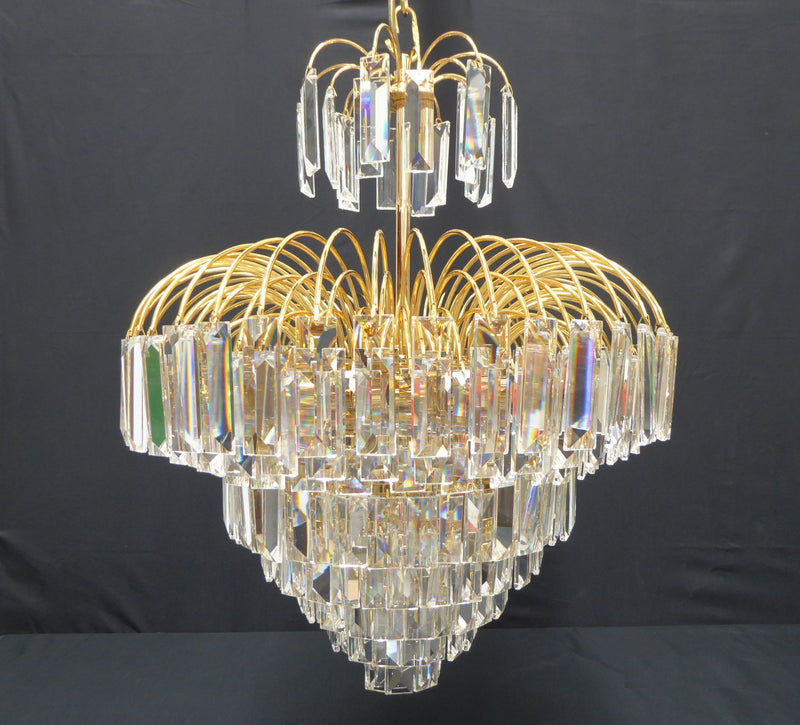 "4718 Crystal Pendant Light 17"" 7 Light - Asfour Crystal Penlogue Coffin Stone - Chandelier [4718-17""-610]"