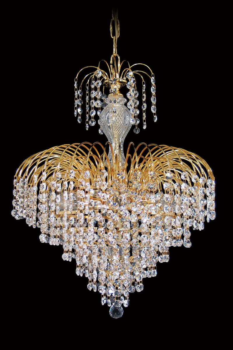 "4718 Crystal Pendant Light - 19"" 7 Lights - Asfour Crystal 14mm Beads - Chandelier [4718-19""-14mm]"