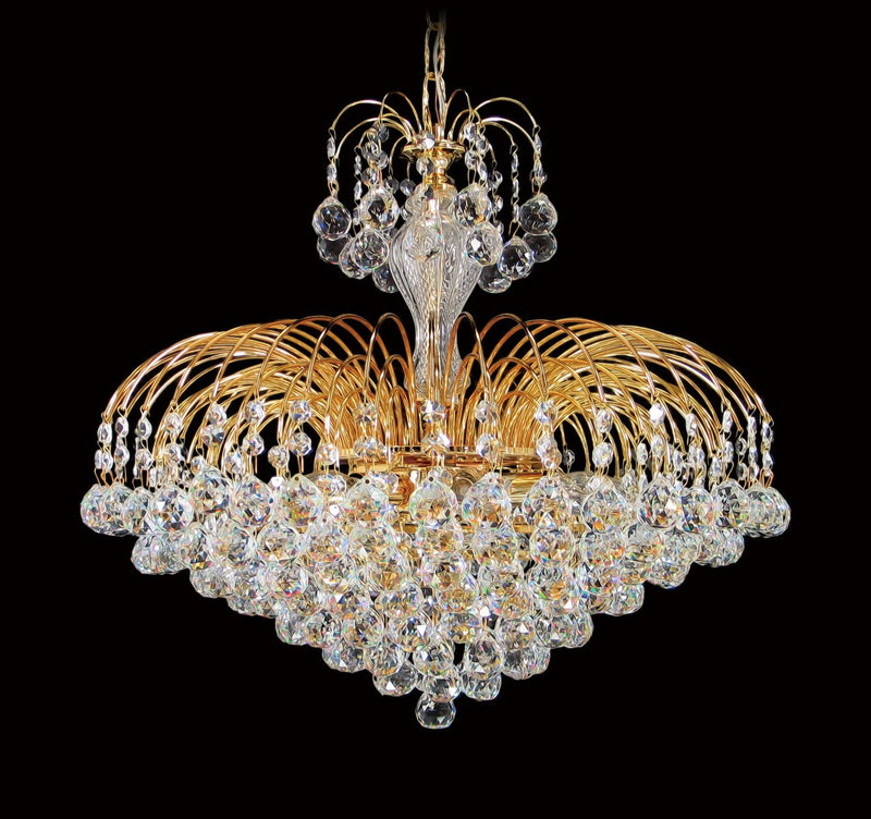 "4718 Crystal Pendant Light - 19"" 7 Lights - Asfour Crystal Balls & 14mm Beads - Chandelier [4718-19""-14-701]"