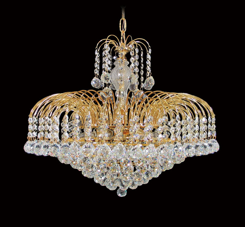"4718 Crystal Pendant Light - 22"" 9 Lights - Asfour Crystal Ball & 14mm Bead - Chandelier [4718-22""-14-701]"