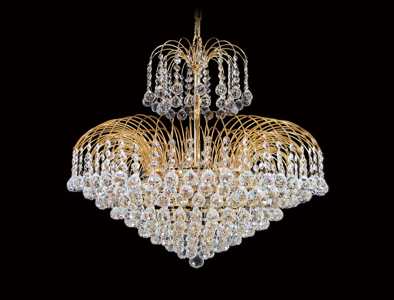 "4718 Crystal Pendant Light - 26"" 13 Lights - Asfour Crystal Ball & 14mm Bead - Chandelier [4718-26""-14-701]"