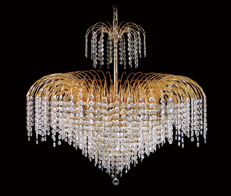 "4718 Crystal Pendant Light 32"" 15 Light - Asfour Crystal 14mm Beads - Chandelier [4718-32""-14mm]"