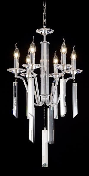 "50013 Crystal Pendant Light - 18"" 6 Light - Asfour Crystal Chandelier [50013-18""-6L]"