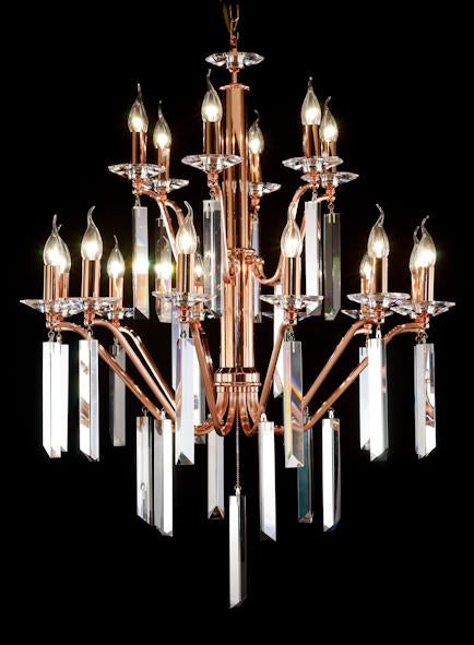 "50013 Crystal Pendant Light - 31"" 18 Light - Asfour Crystal Chandelier [50013-31""-12+6L]"