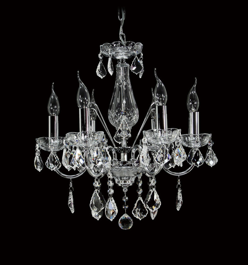 "5521 Crystal Pendant Light - 19"" 6 Light - Asfour Crystal Chandelier [5521(D14)-19""-6L-911]"