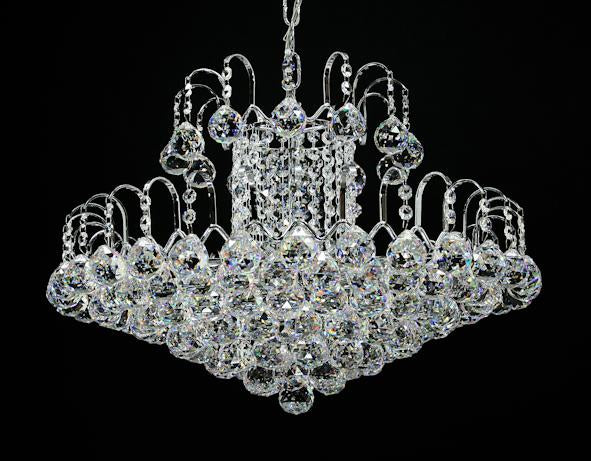"5970 Crystal Pendant Light - 21"" 10 Light - Asfour Crystal Chandelier [5970-21""-40mm]"