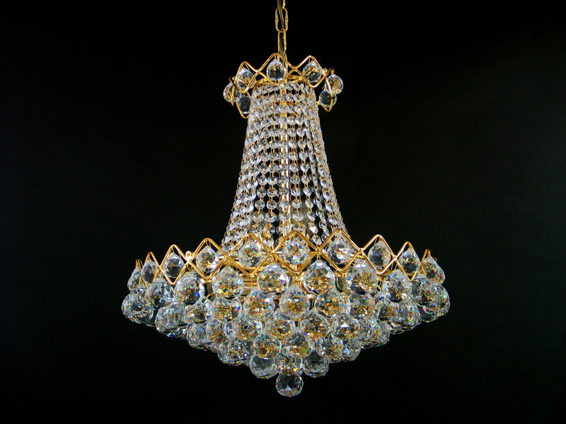 "5978 Crystal Pendant Light - 17"" 9 Light - Asfour Crystal Chandelier [5978-17""-9L-40mm]"