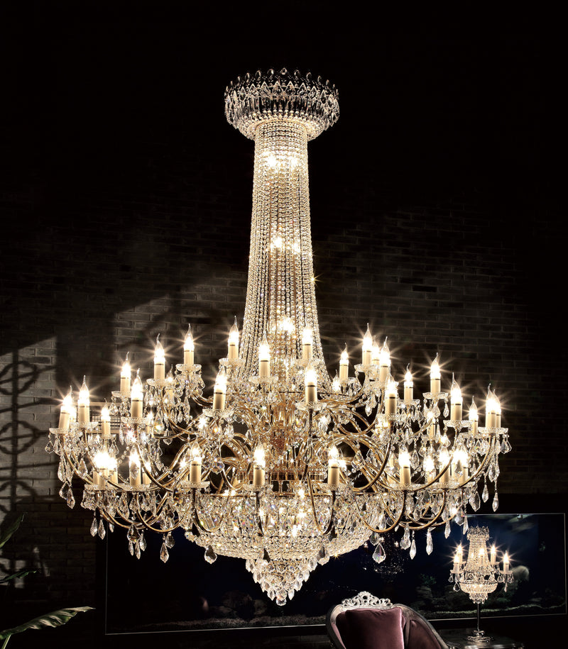 "6000 Crystal Pendant Light - 71"" 66 Light - Asfour Crystal Chandelier [6000-71""-18+18+9+9L-911]"