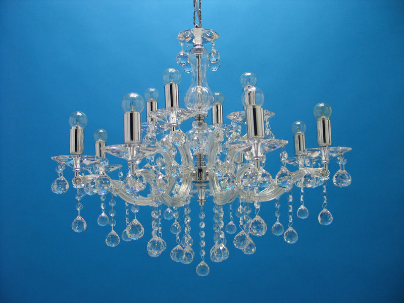 "6610 Crystal Pendant Light 26"" 12 Light - Asfour Crystal Chandelier [6610-8+4L-1036-30mm]"