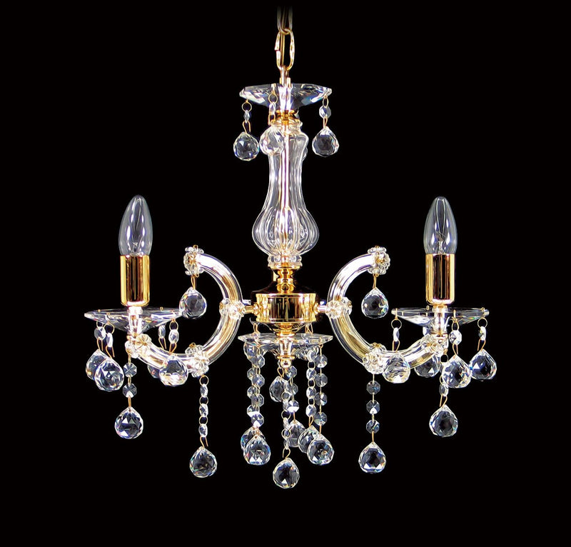 "6610 Crystal Pendant Light - 18"" 3 Light Gold - Asfour Crystal Chandelier [6610-3L-1036-30mm]"