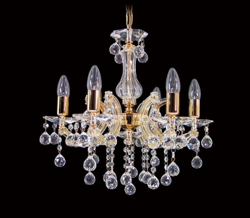 "6610 Crystal Pendant Light - 18"" 6 Light - Asfour Crystal Chandelier [6610-6L-1036-30mm]"