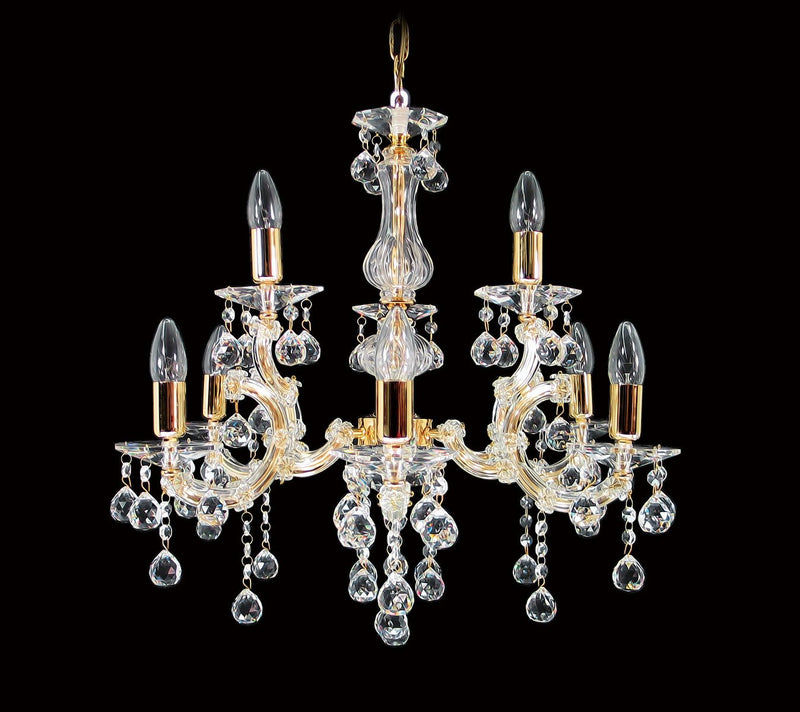 "6610 Crystal Pendant Light - 25"" 9 Light - Asfour Crystal Chandelier [6610-6+3L-1036-30mm]"