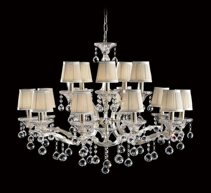 "6610 Crystal Pendant Light - 36"" 15 Light - Asfour Crystal Chandelier [6610(4624)-36""-10+5L-701+1156]"