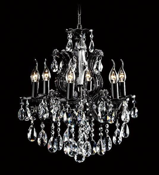 "6613 Crystal Pendant Light - 18"" 6 Light - Asfour Crystal Chandelier [6613(102)-18""-6L-873 BK]"