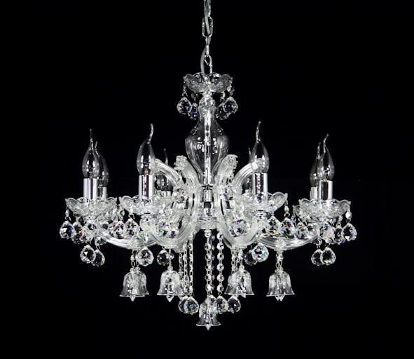 "6618 Crystal Pendant Light - 23"" 8 Light - Asfour Crystal Chandelier [6618(A04)-23""-8L-701+A29]"