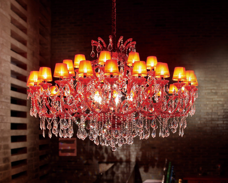 "6631 Crystal Pendant Light - 71"" 42 Light - Asfour Crystal Chandelier [6631(4624)-71""-24+12L+(6L)-911+1140RED (RED)]"