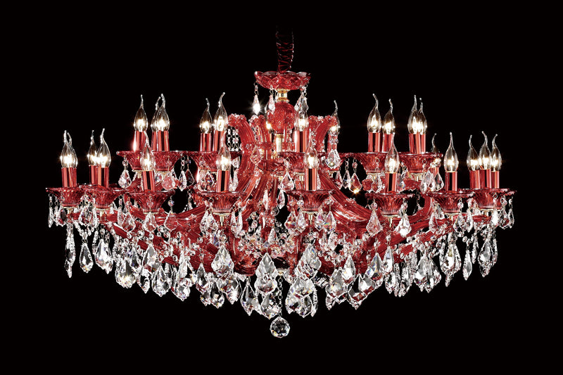 "6636 Crystal Pendant Light - 47"" 30 Light - Asfour Crystal Chandelier [6636(4624)-47""-18+12L-911 (RED)]"