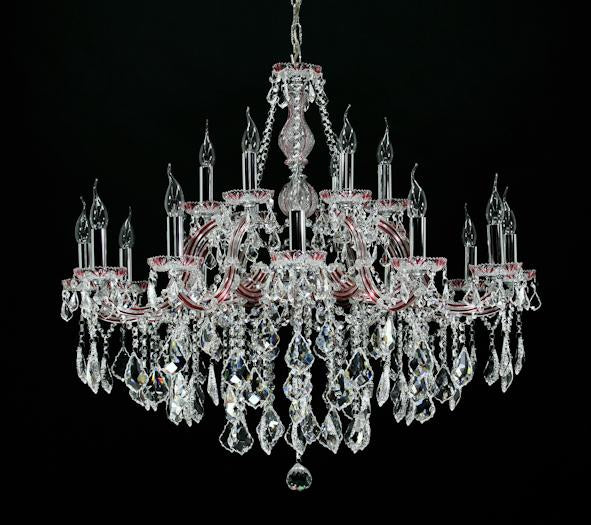 "6640 Crystal Pendant Light - 37"" 18 Light - Asfour Crystal Chandelier [6640-37""-12+6L-911]"