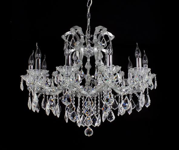 "6641 Crystal Pendant Light - 32"" 10 Light - Asfour Crystal Chandelier [6641(A31)-32""-10L-911]"