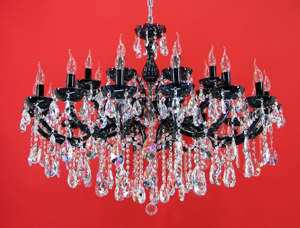 "6694 Crystal Pendant Light - 43"" 24 Light - Asfour Crystal Chandelier [6694(109)-43""-16+8L-873 BK]"