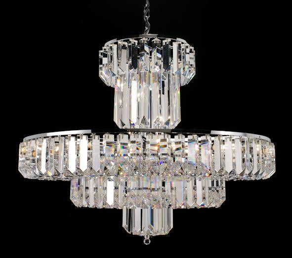"683 Crystal Pendant Light - 32"" 15 Light - Asfour Crystal Chandelier [683-32""-140-40mm-201]"