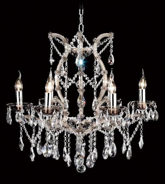 "6832 Crystal Pendant Light - 27"" 6 Light - Asfour Crystal Chandelier [6832(109)-27""-6L-873 TK]"