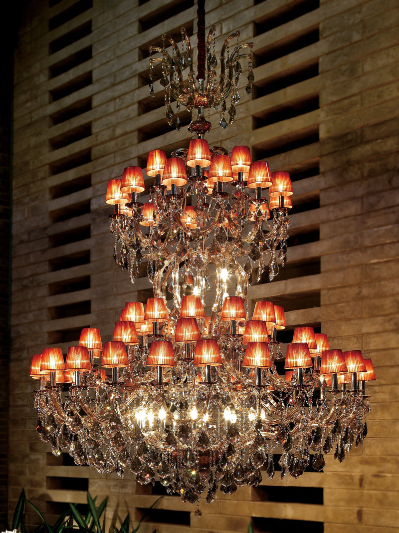 "6958 Crystal Pendant Light - 71"" 84 Light - Asfour Crystal Chandelier [6958-71""-24+12+12+12+6L+(18L)-1038-911+1140TK Satin(TK)]"