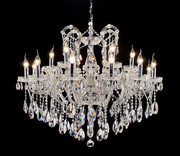 "6961 Crystal Pendant Light - 40"" 18 Light - Asfour Crystal Chandelier [6961(D28)-40""-12+6L-873]"