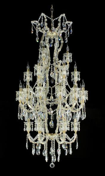 "6973 Crystal Pendant Light - 32"" 27 Light - Asfour Crystal Chandelier [6973-1(D68)-32""-3+6+12+6L-873]"