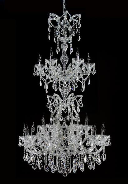 "6974 Crystal Pendant Light - 40"" 24 Light - Asfour Crystal Chandelier [6974(9909)-40""-6+12+6L-911]"