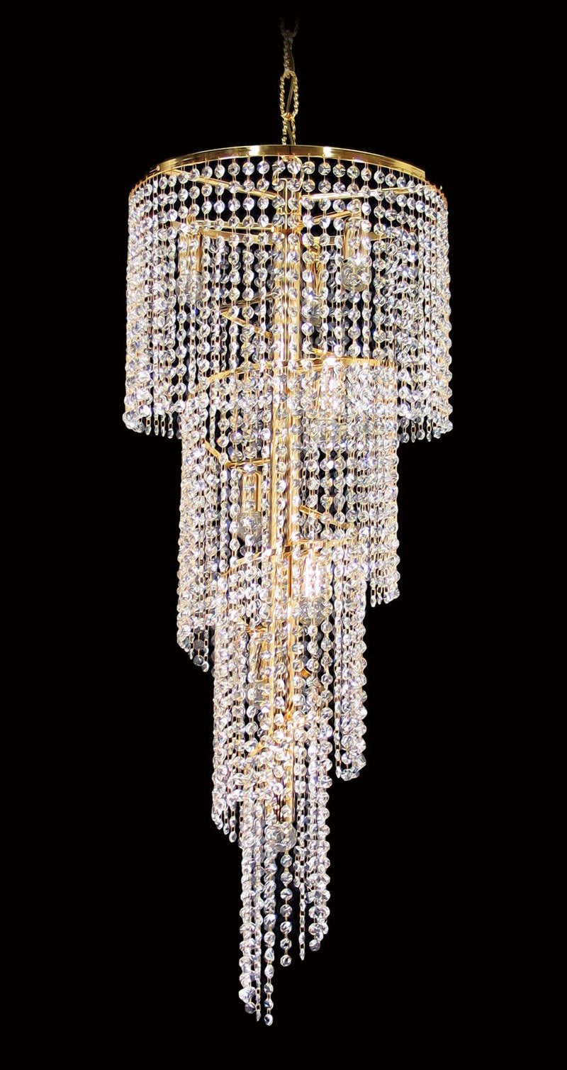 "701 Crystal Pendant Light 16"" 8 Light - Asfour Crystal 14mm Beads - Chandelier [701-16""-14mm]"