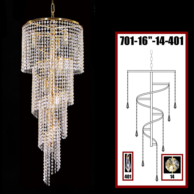 "701 Crystal Pendant Light 16"" 8 Light - Asfour Crystal 14mm Beads & Prismas - Chandelier [701-16""-14-401]"