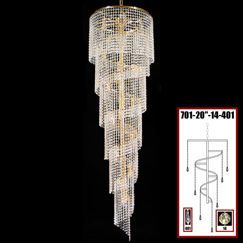 "701 Crystal Pendant Light 20"" 17 Light - Asfour Crystal 14mm Beads & Prismas - Chandelier [701-20""-14-401]"