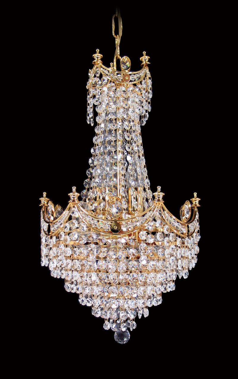 "702 Crystal Pendant Light 12"" 8 Light Gold - Asfour Crystal 14mm Beads - Chandelier [702-12""-14mm]"