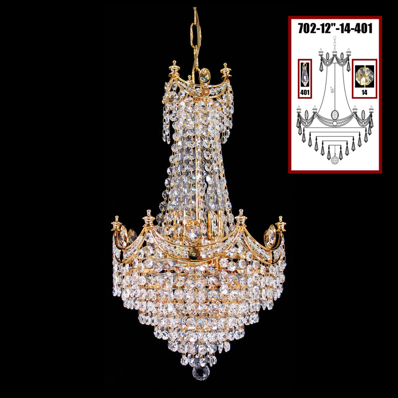 "702 Crystal Pendant Light 12"" 8 Light - Asfour Crystal 14mm Beads & Prismas - Chandelier [702-12""-14-401]"