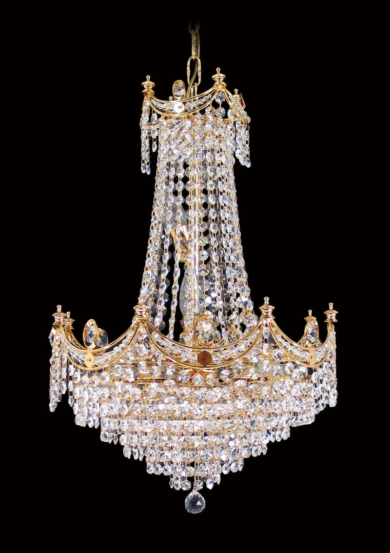 "702 Crystal Pendant Light 16"" 10 Light - Asfour Crystal 14mm Beads - Chandelier [702-16""-14mm]"