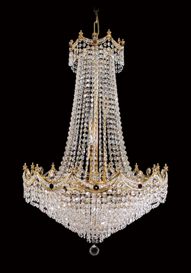 "702 Crystal Pendant Light 24"" 15 Light - Asfour Crystal 14mm Beads - Chandelier [702-24""-14mm]"