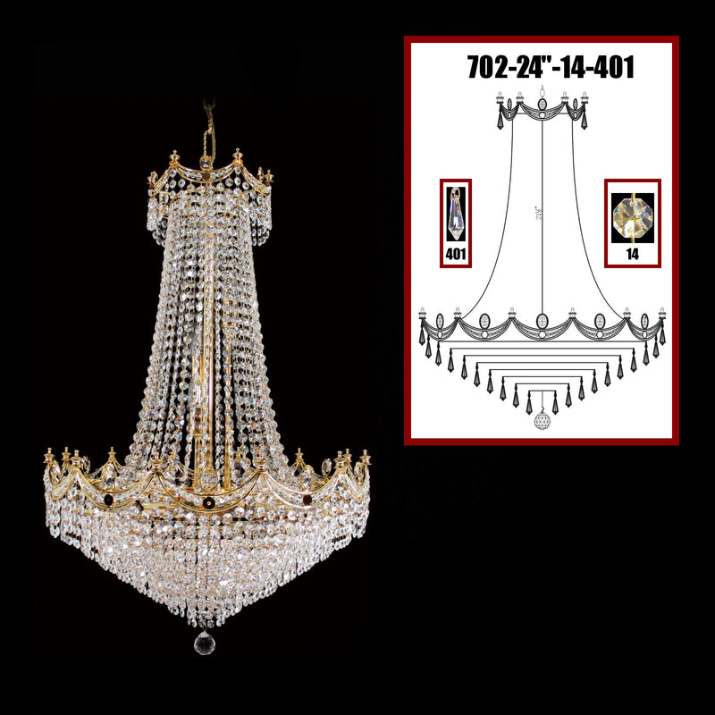 "702 Crystal Pendant Light 24"" 15 Light - Asfour Crystal 14mm Beads & Prismas - Chandelier [702-24""-14-401]"
