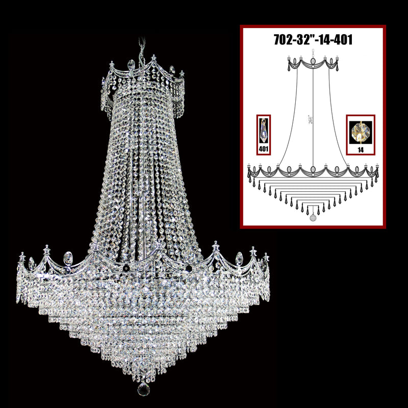"702 Crystal Pendant Light 32"" 24 Light - Asfour Crystal 14mm Beads & Prismas - Chandelier [702-32""-14-401]"
