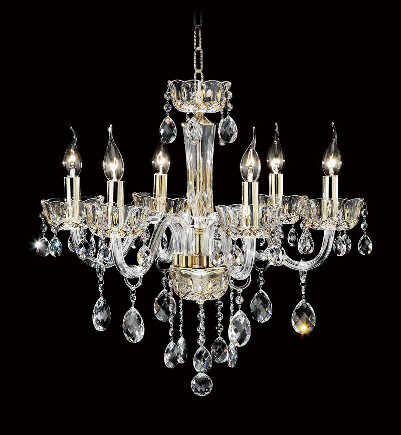 "7723 Crystal Pendant Light - 22"" 6 Light - Asfour Crystal Chandelier [7723-22""-6L-872]"