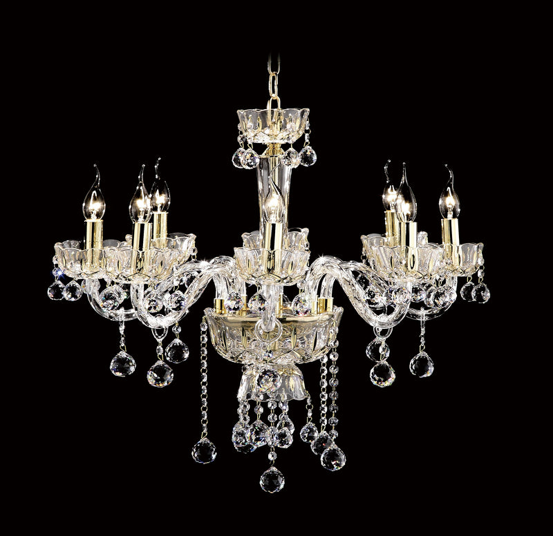 "7723 Crystal Pendant Light - 30"" 8 Light - Asfour Crystal Chandelier [7723-30""-8L-702]"
